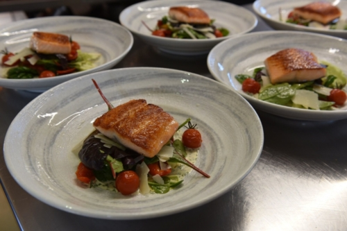 Pan roasted salmon, roasted pepper & parmesan salad, confit cherry tomatoes, dill & orange dressing